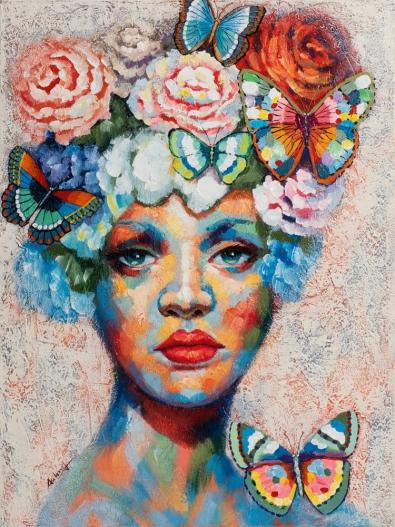 Schilderij vrouw met bloemen 90x120