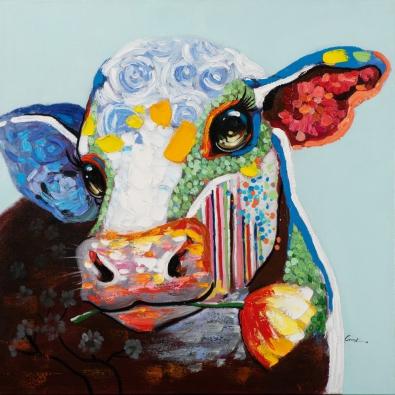 Schilderij koe 90x90