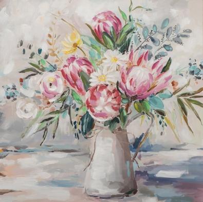 Schilderij bloemen in melkkan 100x100