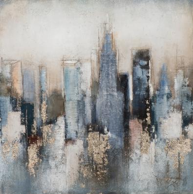 Schilderij abstract skyline 100x100