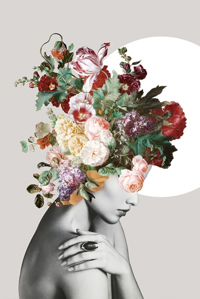 Woman with flowers op glas 80x120
