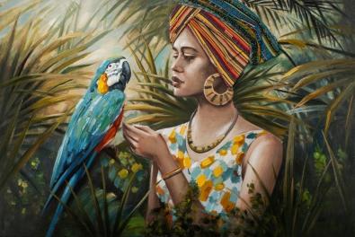 schilderij vrouw in jungle 100x150