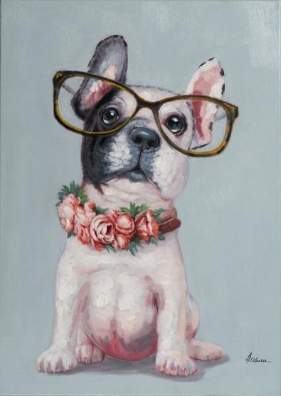 Schilderij bulldog 50x70
