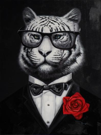 Schilderij tijger in pak 90x120