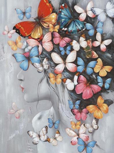 Schilderij vrouw met bloemen 60x80