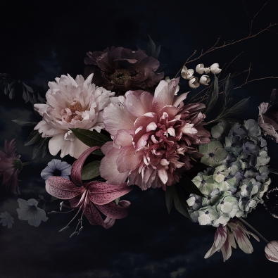 Bloemen op glas 80x80