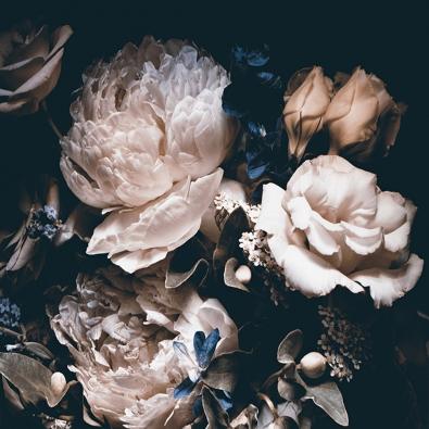Bloemen op glas 100x100