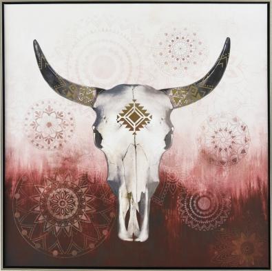 Schilderij buffelschedel 82x82