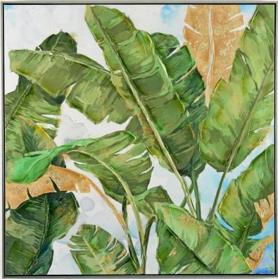 Schilderij bananenbladeren 102x102
