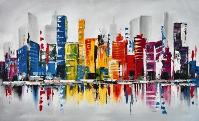 Schilderij skyline 74x120