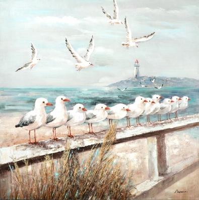 Schilderij meeuwen aan het strand 100x100