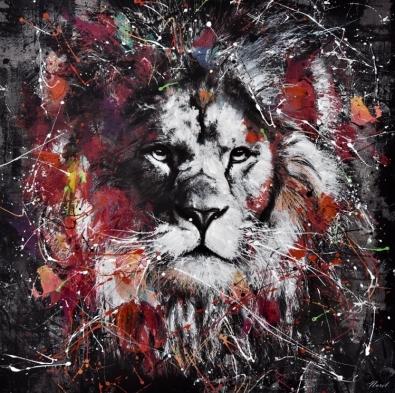 Schilderij moderne leeuw 100x100