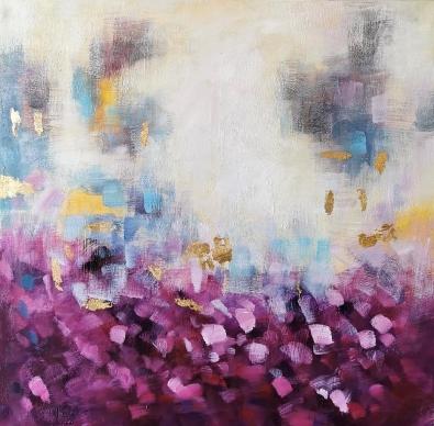 Schilderij bloemenveld 120x120