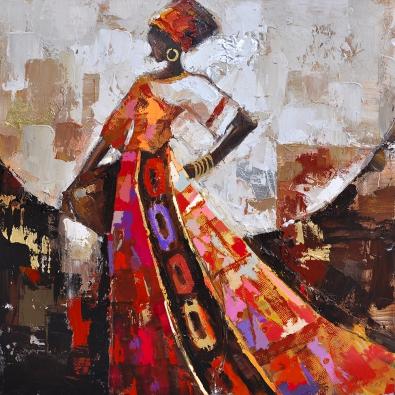 Schilderij Afrikaanse vrouw 100x100