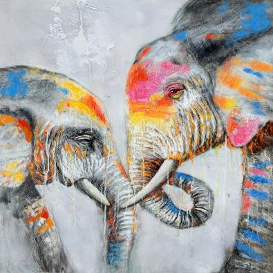 Schilderij olifant met jong 100x100