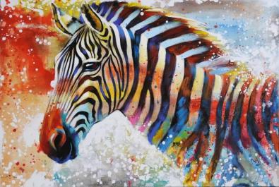 schilderij zebra 74x120