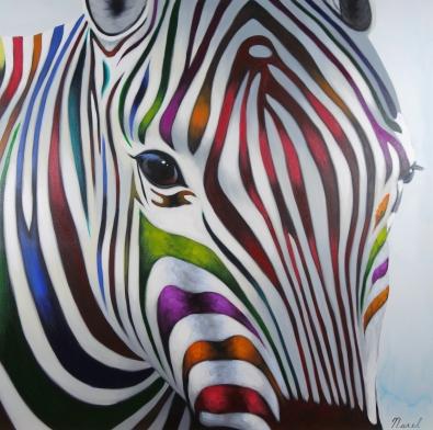 Schilderij zebra 100x100