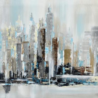 Schilderij skyline 100x100