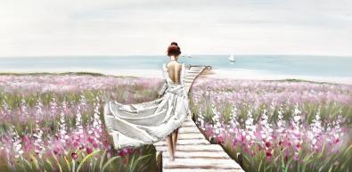 Schilderij vrouw aan strand  70x140