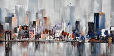 Schilderij skyline 100x200