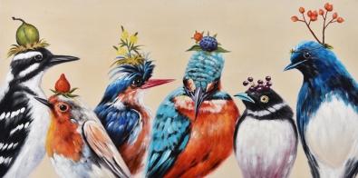 Schilderij vogeltjes 60x120