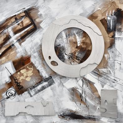 schilderij abstract met metaal 100x100