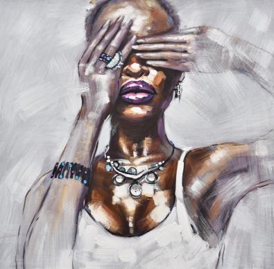 Schilderij vrouw 74x74