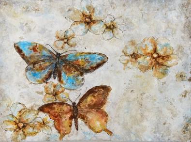Schilderij vlinders 74x100