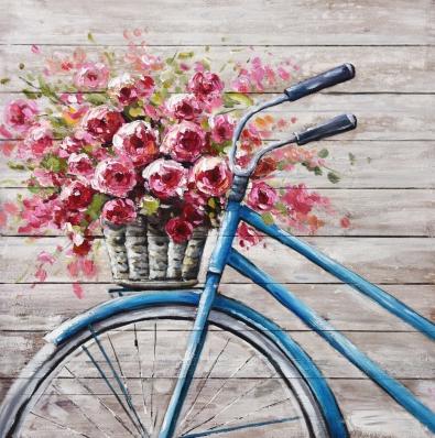 Schilderij fiets met bloemen op hout 74x74