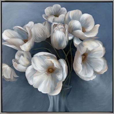 Schilderij bloemen in vaas 82x82