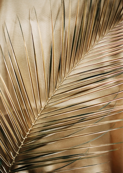 Gold leafs op glas 70x100
