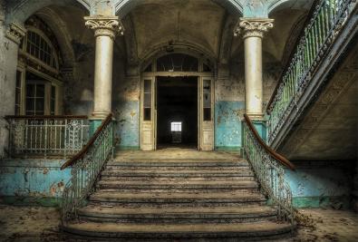 Stairway op glas 70x100