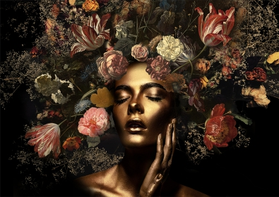 Gold woman with flowers III op glas 70x100