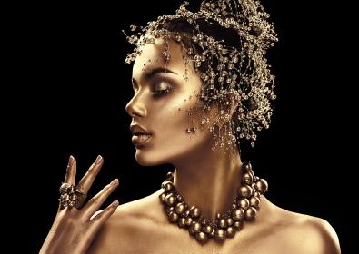 Gold woman op glas 70x100
