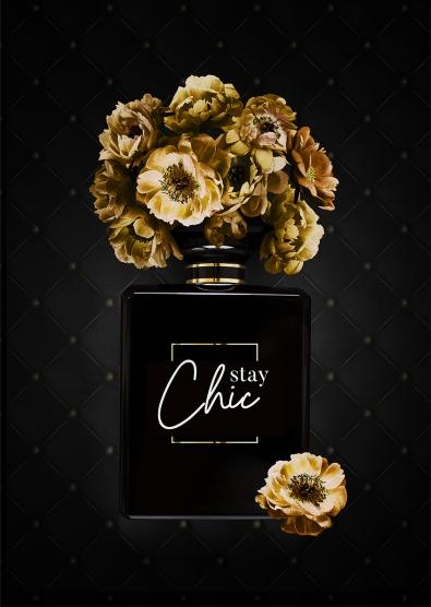 Parfum met bloemen op glas 70x100