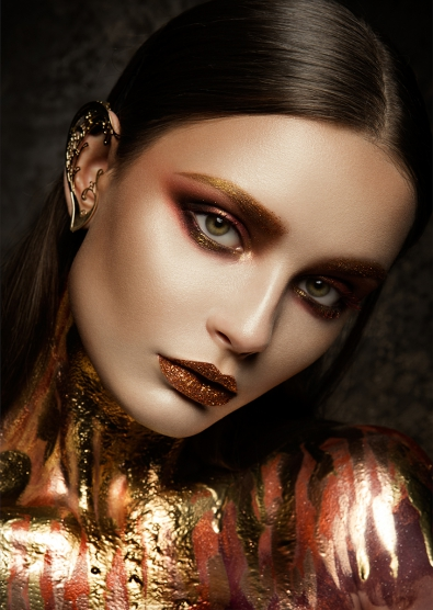 Make-up lady op glas 70x100
