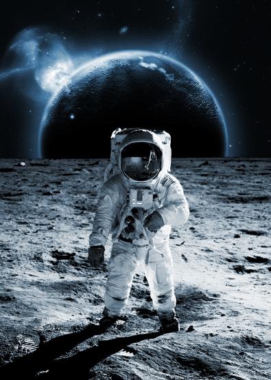 Moonwalking op glas 50x70