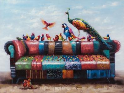 Schilderij vogels 90x120