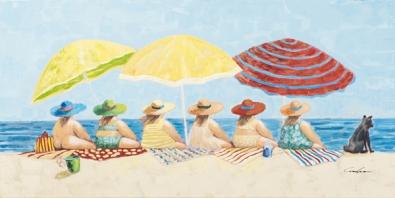 Schilderij dames op het strand 70x140
