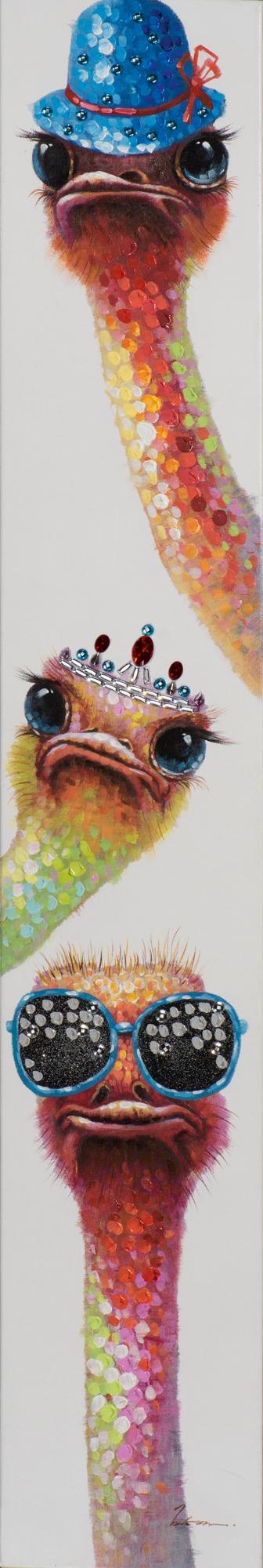 schilderij struisvogels 25x150