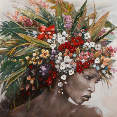 Schilderij vrouw 115x115