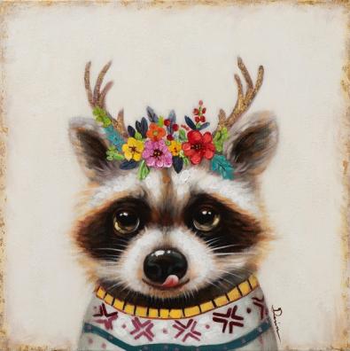 Schilderij wasbeer 60x60
