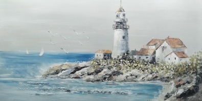 Schilderij strand vuurtoren 70x140