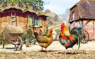 Kippen op de boerderij 75x100