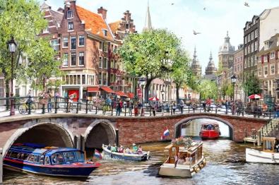 Stadsgezicht Amsterdam 75x100
