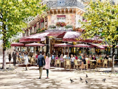 Cafe in Parijs 75x100