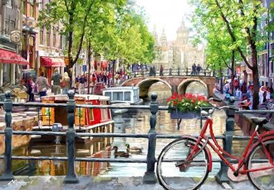 Stadsgezicht Amsterdamse grachten 75x100