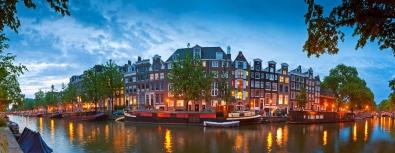 Fotokunst Amsterdamse grachten 60x150