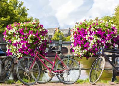 fotokunst Gracht met fietsen 75x100
