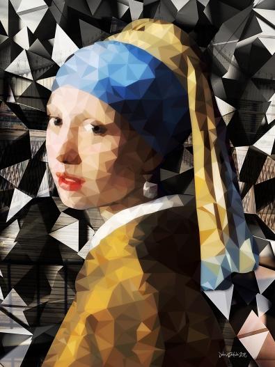 fotokunst meisje met de parel van vermeer 75x100